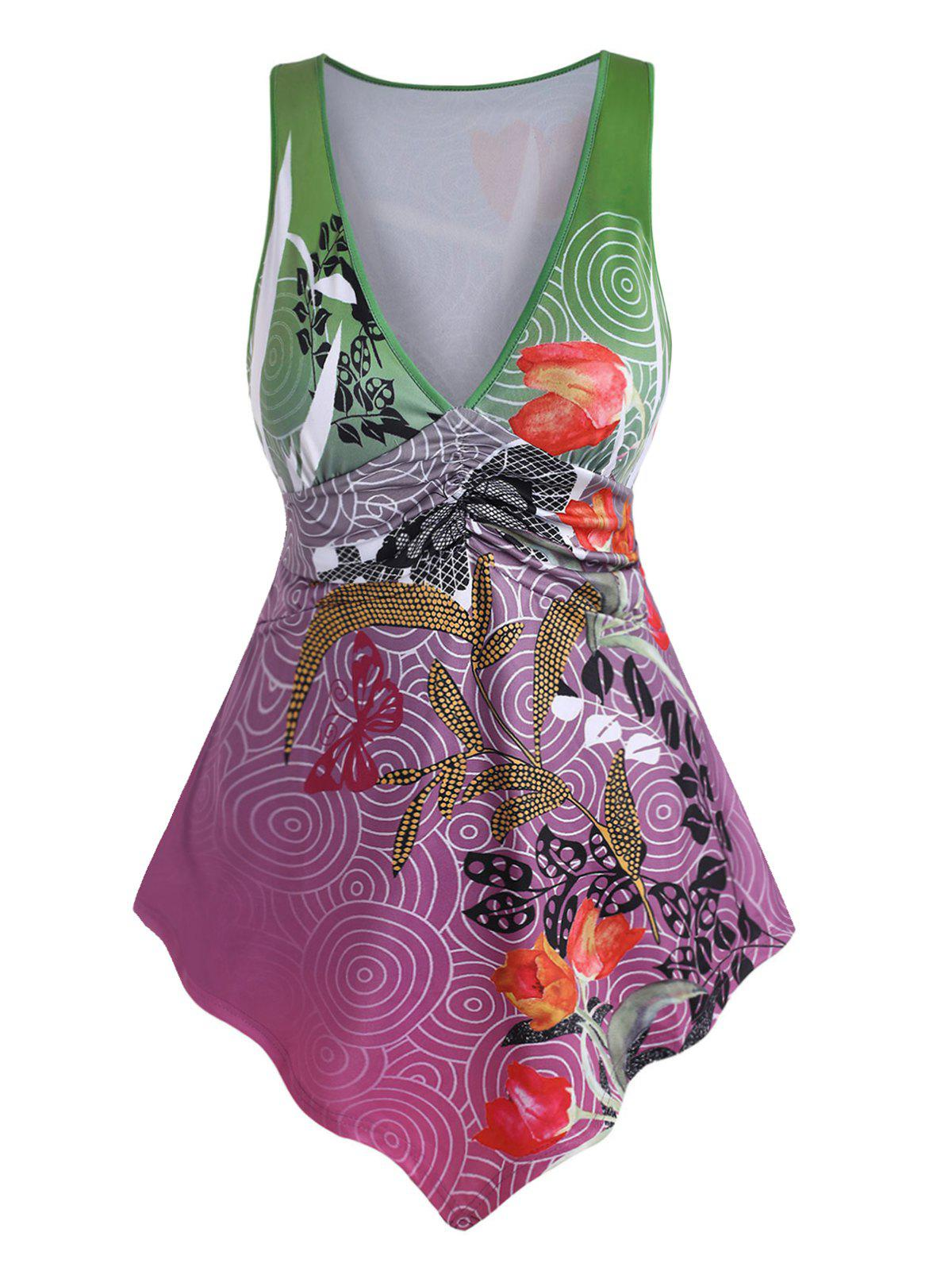 Plus Size Floral Leaf Print Ruched Tank Top - PLUM 3X