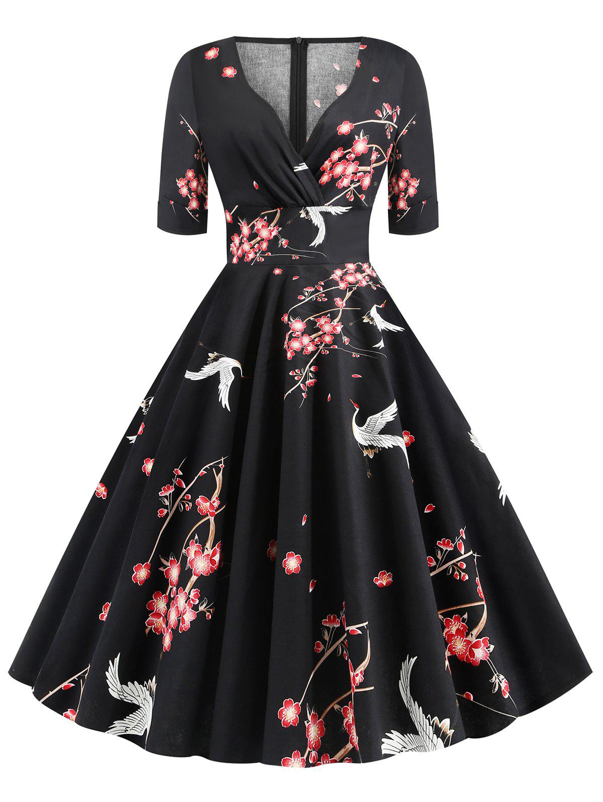 Floral Crane Print V Neck Flare Dress - BLACK L