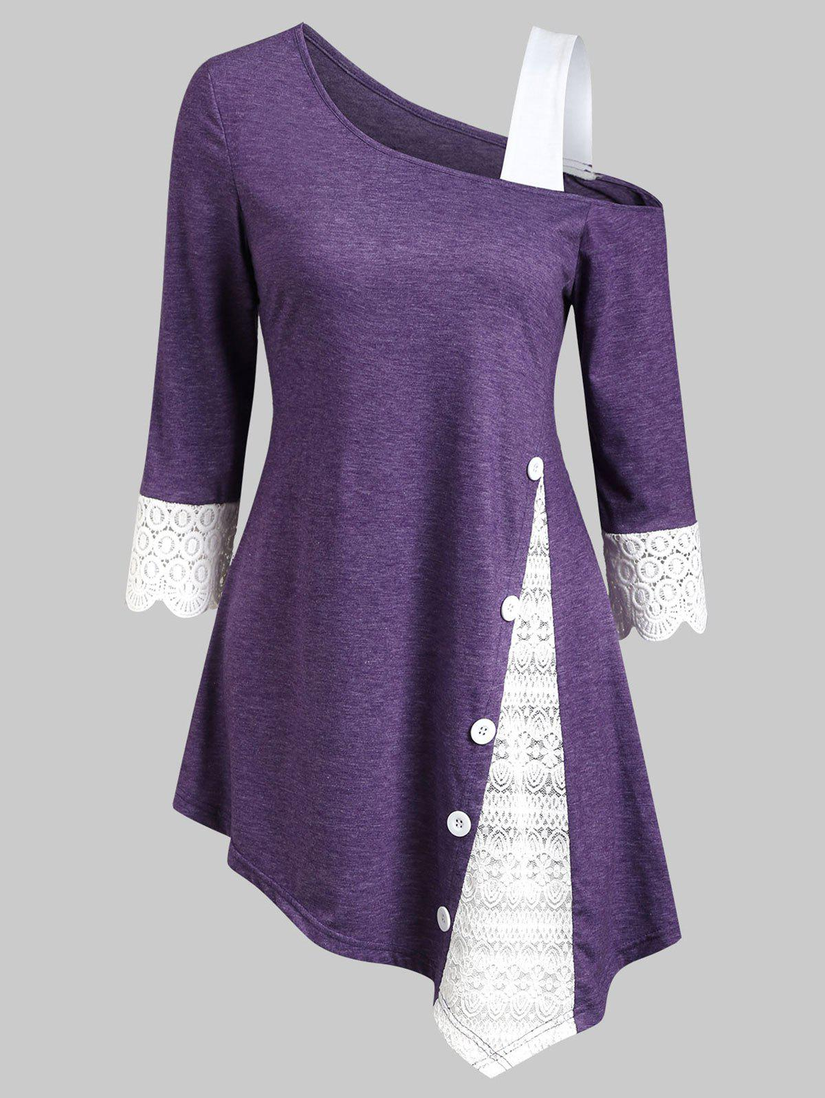 Lace Insert Button Embellished Skew Neck Asymmetrical T-shirt - PURPLE S