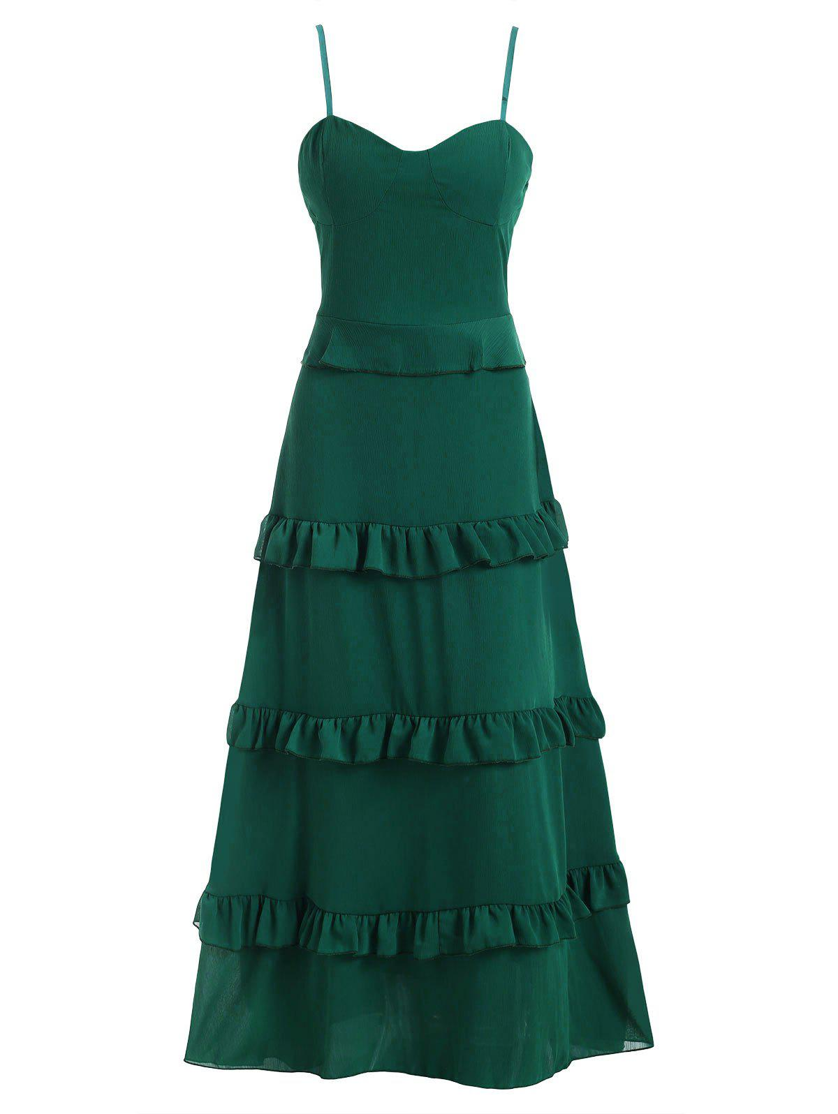Tiered Ruffle Padded Floor Length Chiffon Dress - MEDIUM FOREST GREEN M