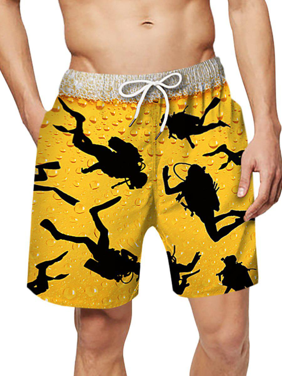 Character Print Drawstring Board Shorts - RUBBER DUCKY YELLOW 2XL