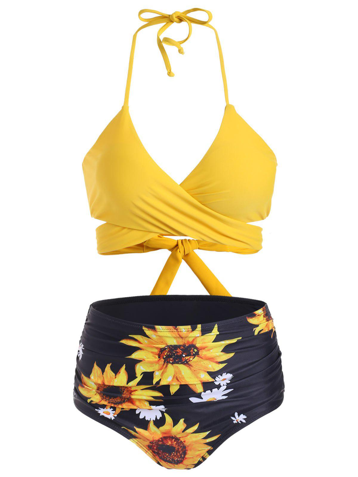 Sunflower Tummy Control Halter Wrap Bikini Swimwear - SUN YELLOW L