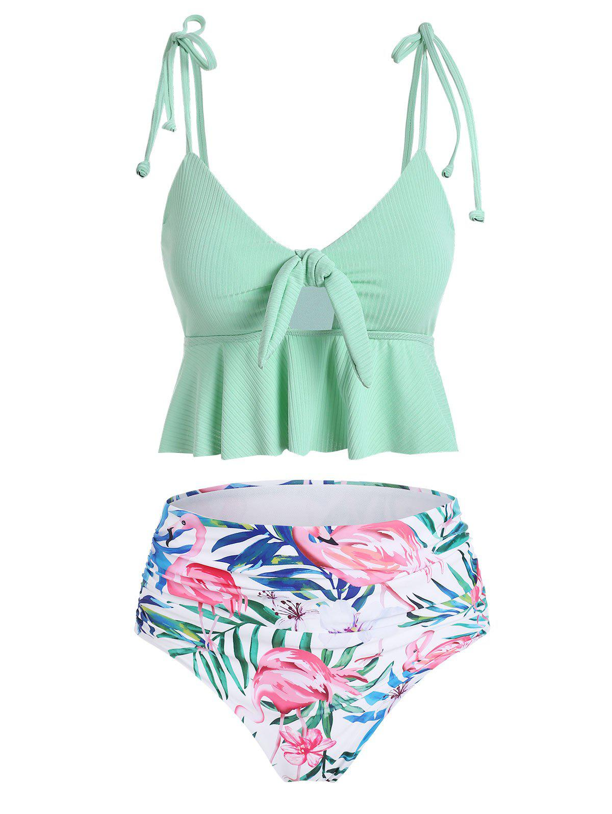 Ribbed Floral Leaf Flamingo Ruched Tankini Swimsuit