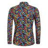 Music Note Print Button Up Long Sleeve Shirt - multicolor 2XL