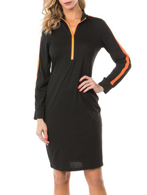 Zip Placket Colorblock Sheath Sweatshirt Dress