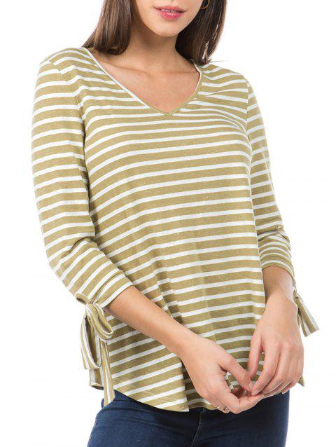 Striped Print Knotted Sleeve Curved Hem T-shirt