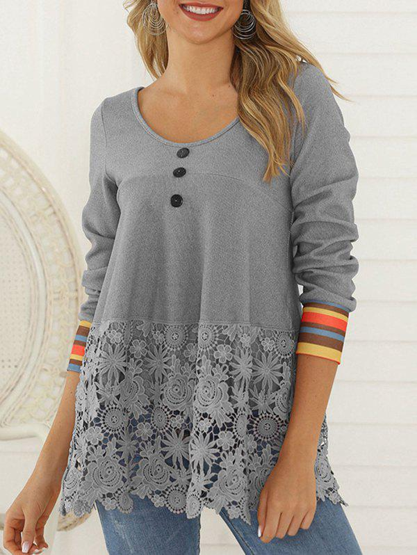 Flower Lace Panel Striped Mock Button T-shirt - ASH GRAY S