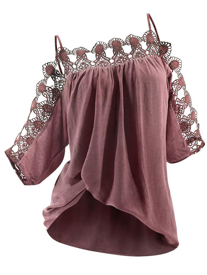 Lace Panel Cold Shoulder Cami Blouse - LIPSTICK PINK S