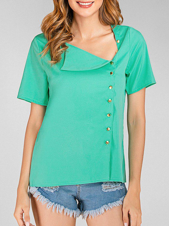 Skew Neck Button Up Solid Blouse - LIGHT GREEN L