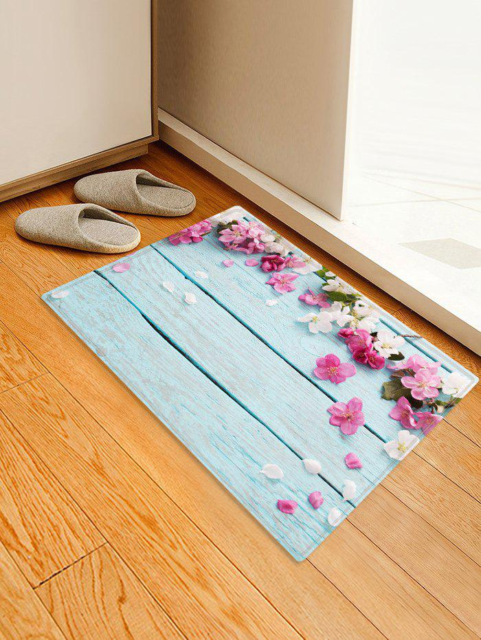 Flowers Wooden Board Patterned Water Absorption Area Rug - multicolor W24 X L35.5 INCH