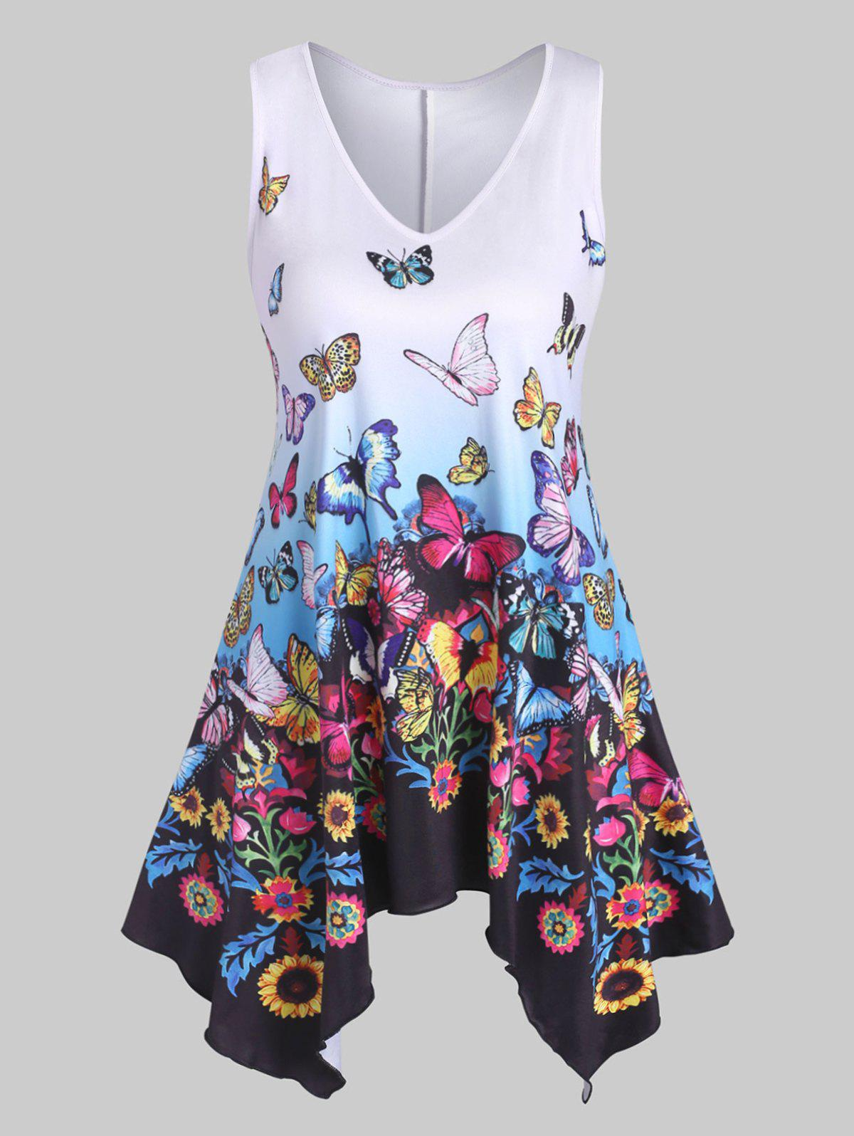 Plus Size Butterfly Print Hanky Hem Tank Top - WHITE L