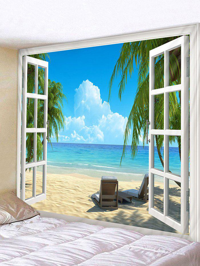 3D Window Beach Print Tapestry Wall Hanging Art Decoration - multicolor W59 X L51 INCH