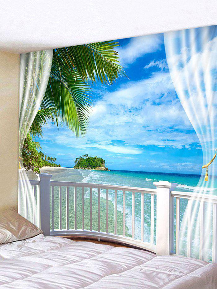 Window Beach Island Print Tapestry Wall Hanging Art Decoration