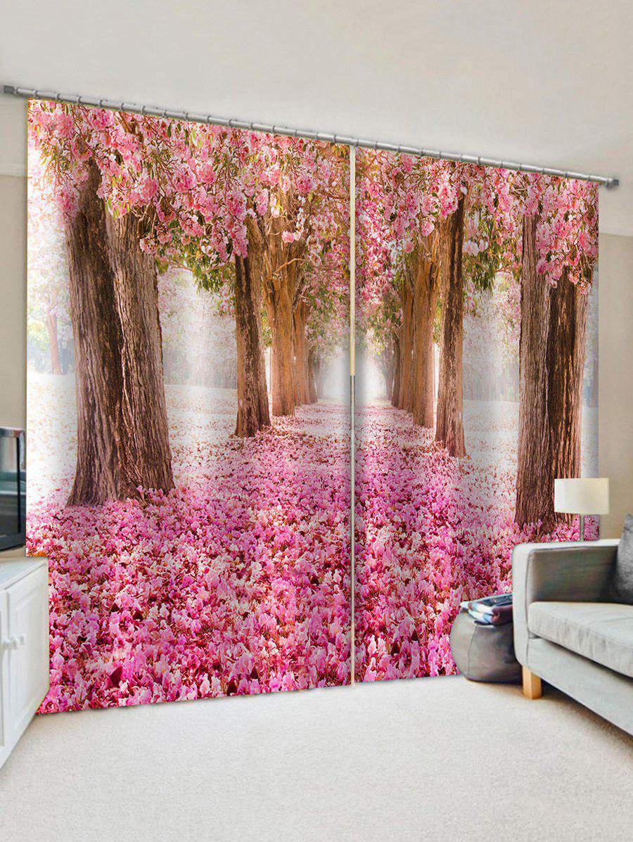 Flower Forest Print Decorative Window Curtains - multicolor W33.5 X L79 INCH X 2PCS