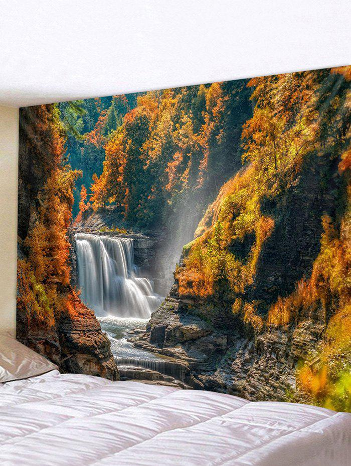 Mountain River Waterfall Print Tapestry Wall Hanging Art Decoration - multicolor W91 X L71 INCH