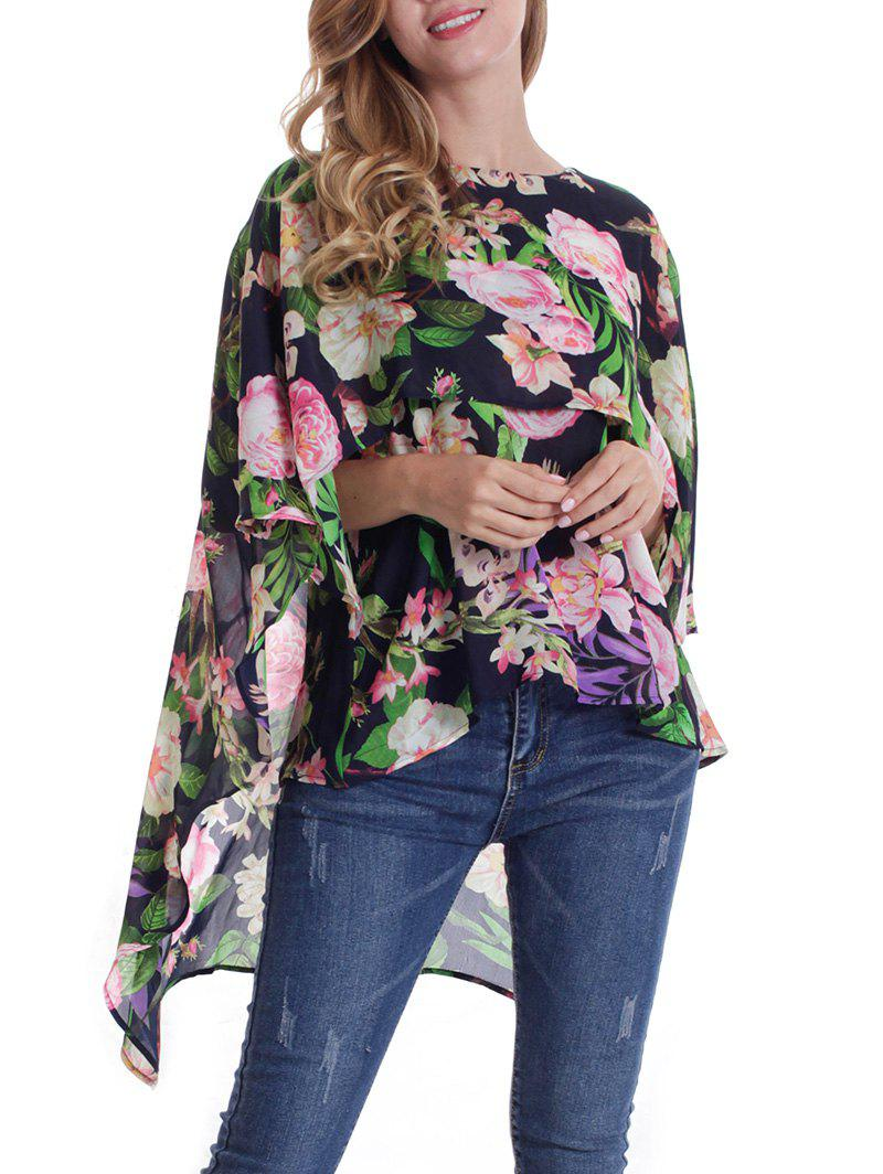 Flower Print Cape Blouse - BLACK XL