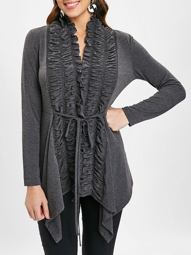 Ruched Draped Tie Front Cardigan - ASH GRAY 2XL