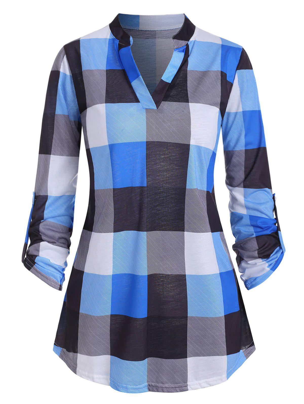 Plaid V entaillé Roll Up manches T-shirt - Bleu L