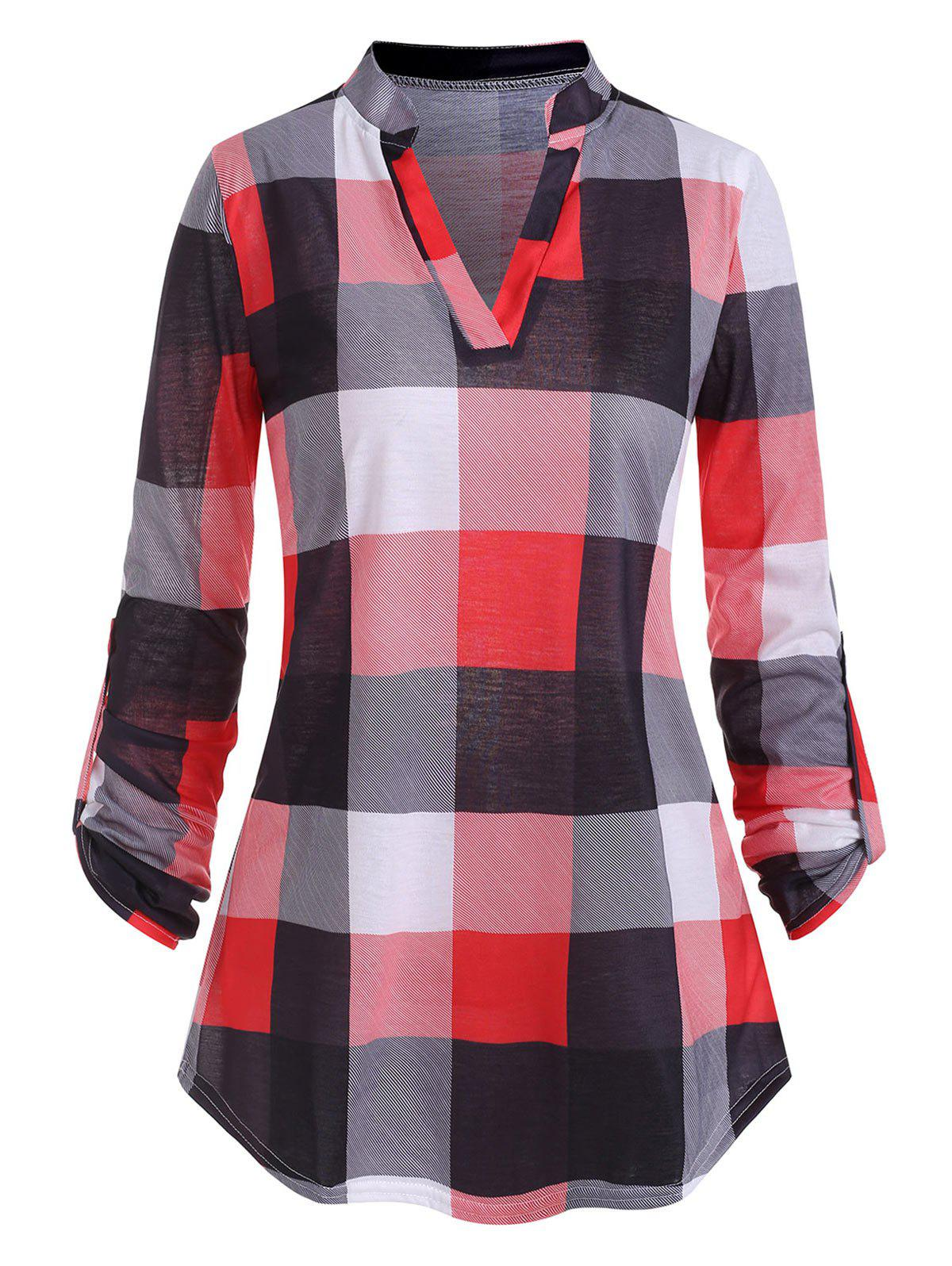 Plaid V Notched Roll Up Sleeves T-shirt - RED 2XL