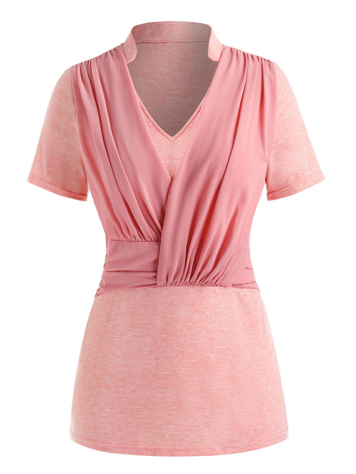 Plus Size Ruched Splicing T Shirt - PINK L