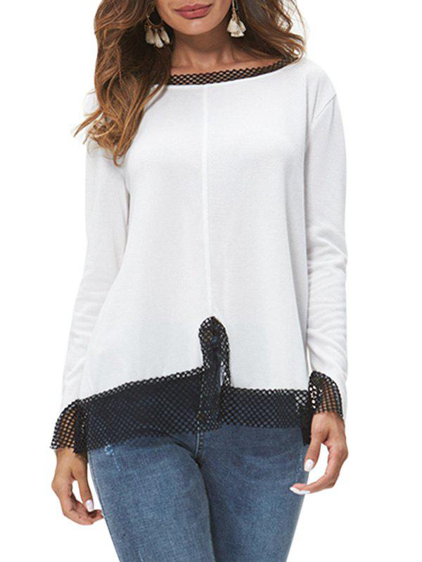 Long Sleeve Contrast Fishnet Panel Top - WHITE 2XL
