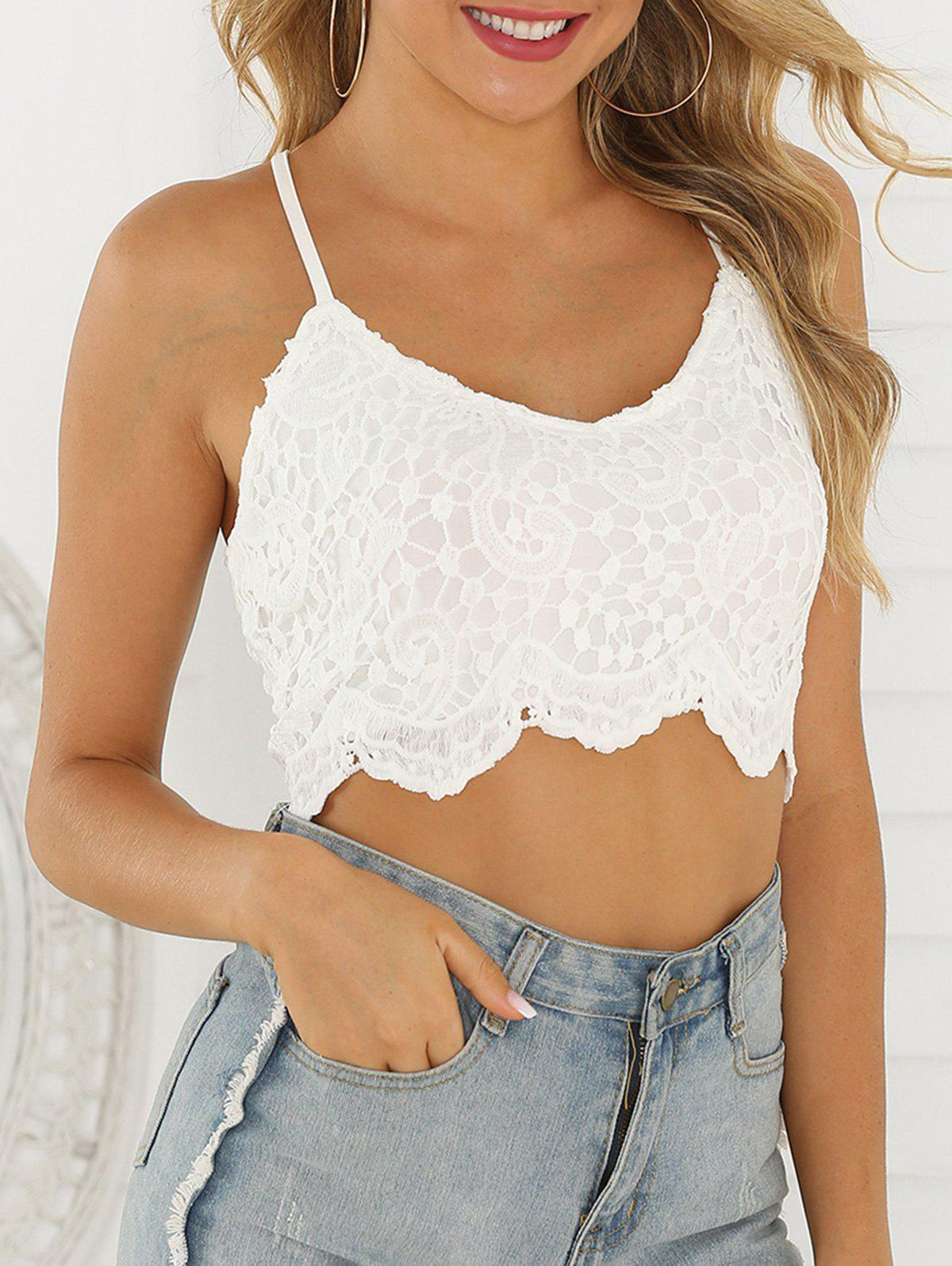 Lace Up Back Scalloped Trim Lace Cami Top - WHITE L