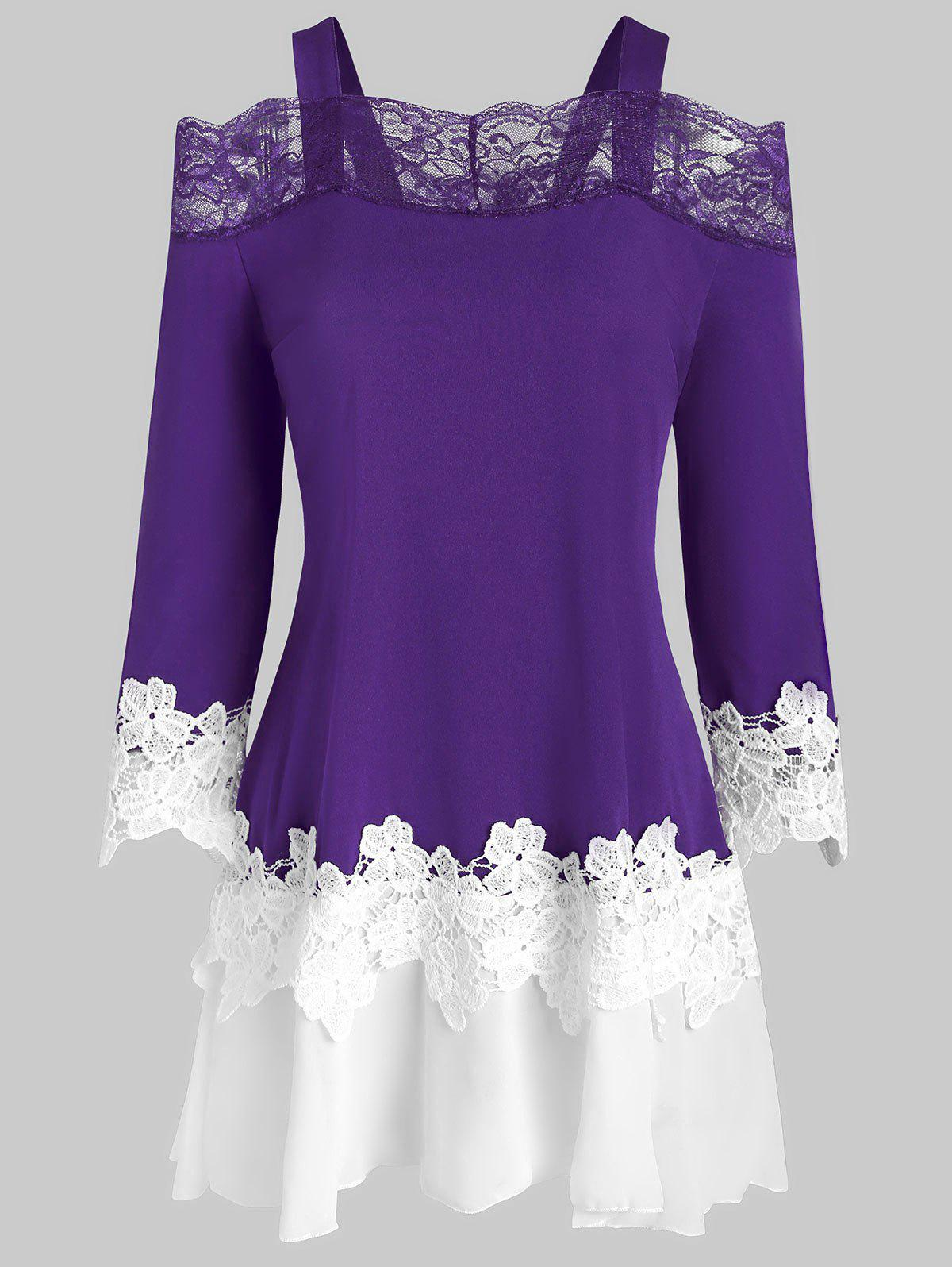 Lace Insert Cold Shoulder Flower Guipure T-shirt - PURPLE AMETHYST 3XL