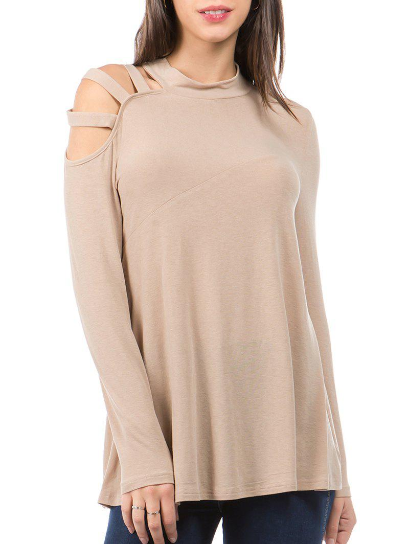 Cut Out Long Sleeves Solid Tee - CAMEL BROWN S