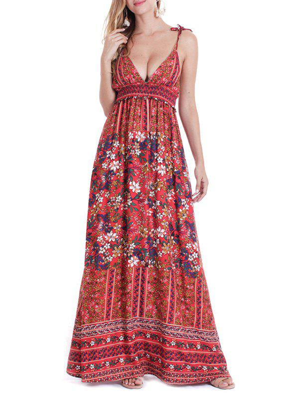 Flower Tie Shoulder Backless Maxi Dress - RED WINE XL