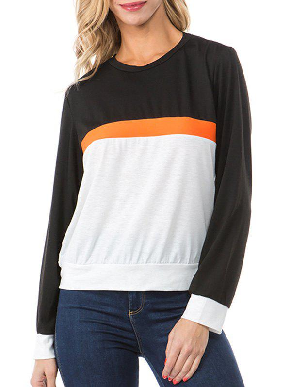Colorblock Round Neck Casual Top - multicolor A M