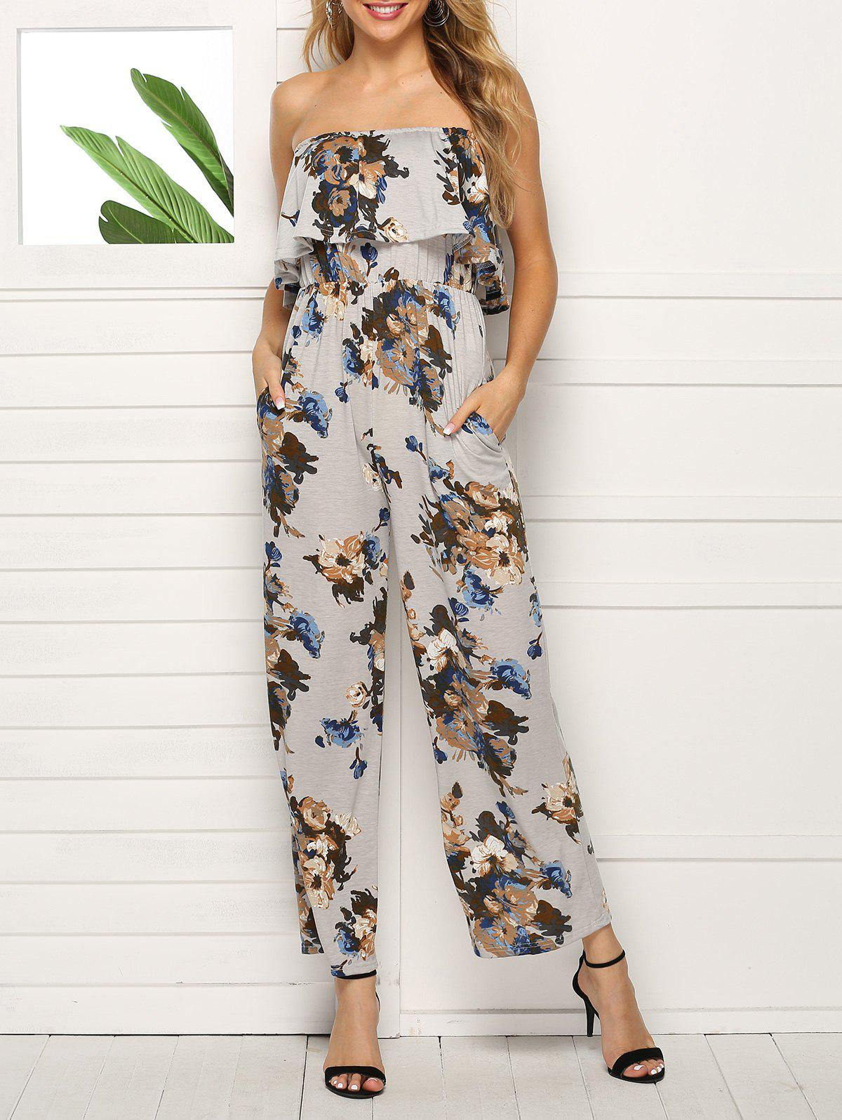 Strapless Floral Wide Leg Jumpsuit - ASH GRAY XL