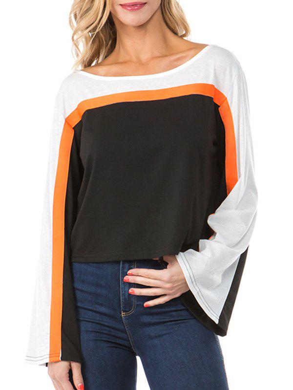 Flare Sleeve Drop Shoulder Contrast T-shirt - multicolor A S