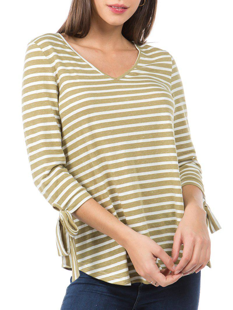 Striped Print Knotted Sleeve Curved Hem T-shirt - KHAKI L