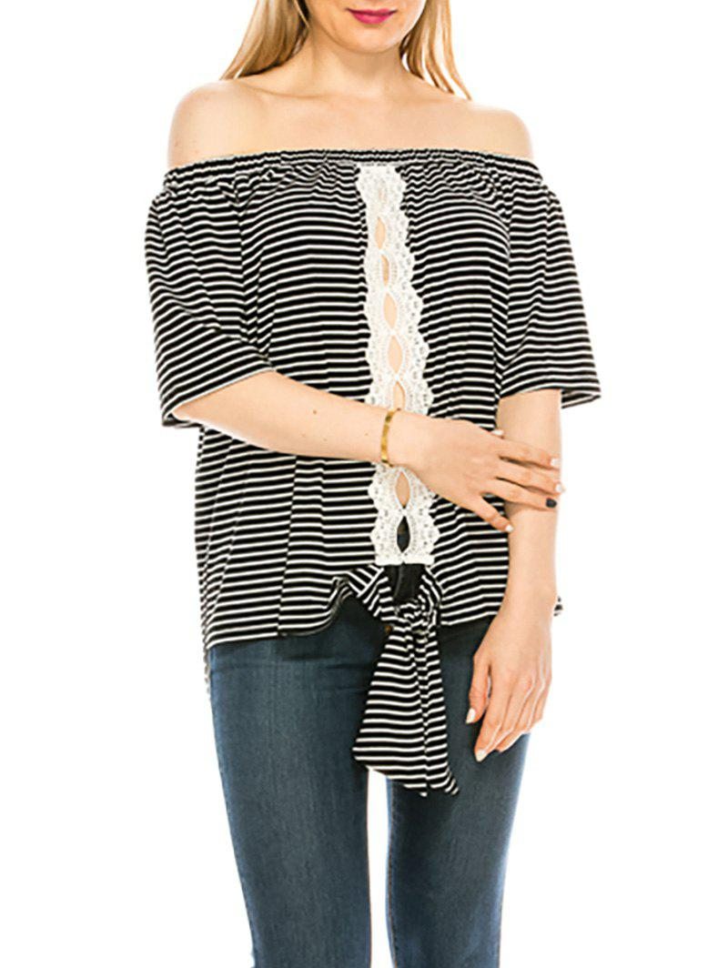 Striped Off Shoulder Lace Panel Knotted Top - BLACK M