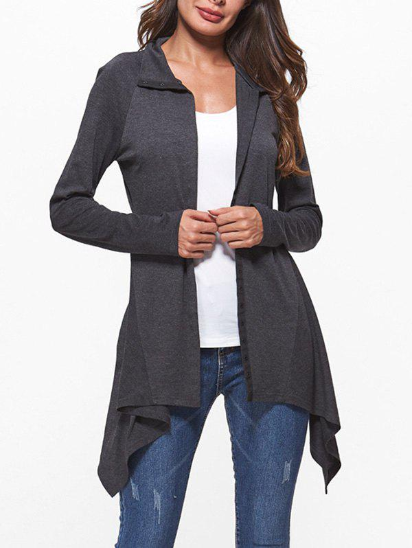 Asymmetric Raglan Sleeve Button Up Coat - ASH GRAY L