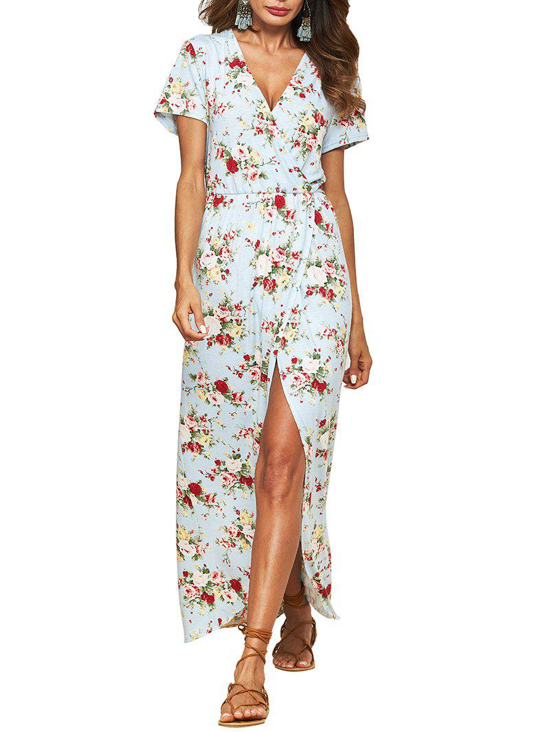 Flower Plunging High Slit Maxi Dress - ROBIN EGG BLUE M