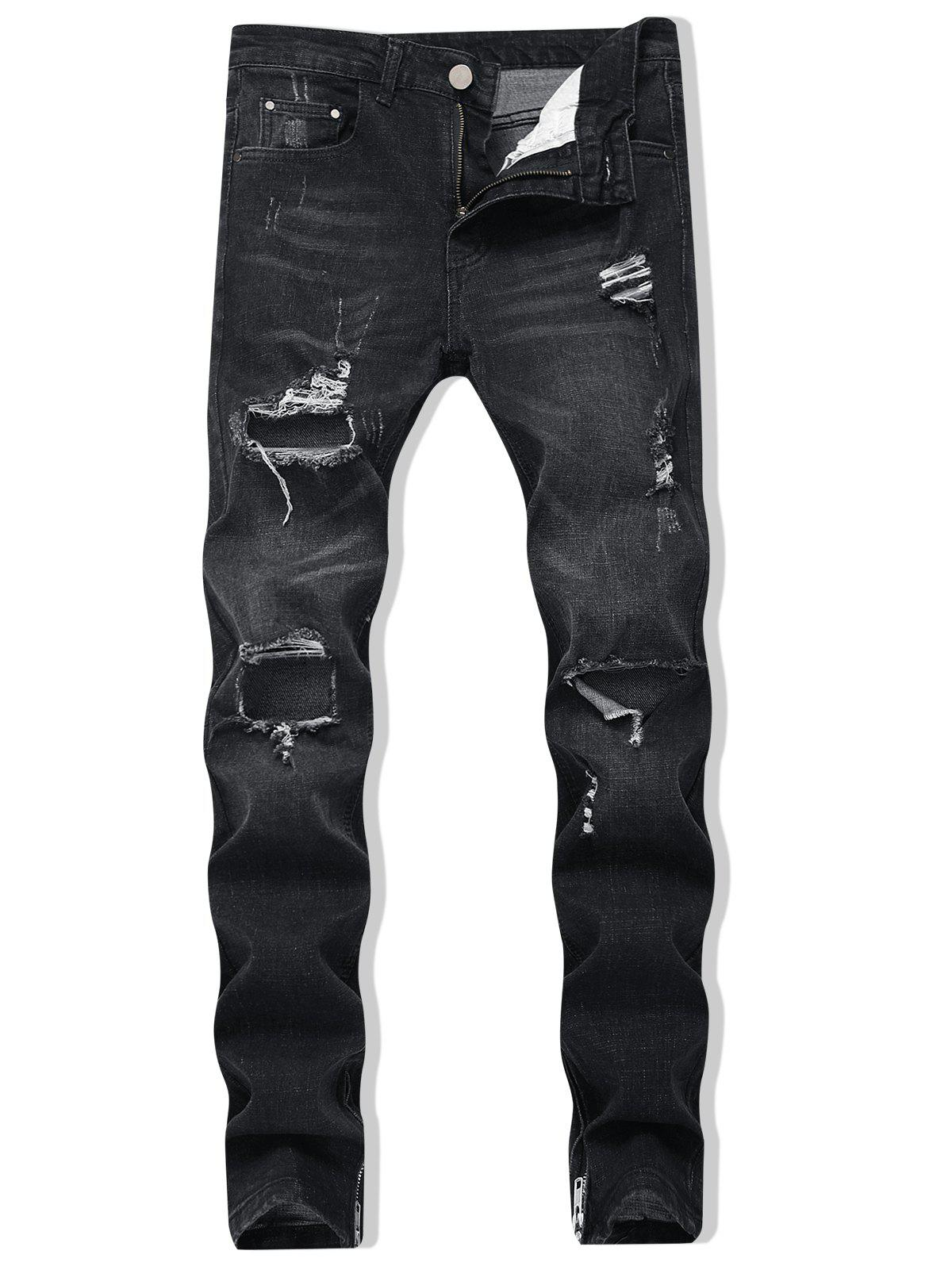 Destroyed Zipper Skinny Jeans - BLACK 34