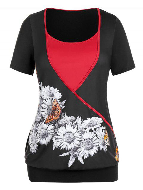 Plus Size Sunflower Butterfly Print Two Tone T Shirt