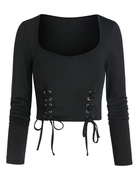 Lace-up Front Long Sleeve Cropped T-shirt