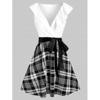 Plaid Print Plunge Neck Belted Flare Dress