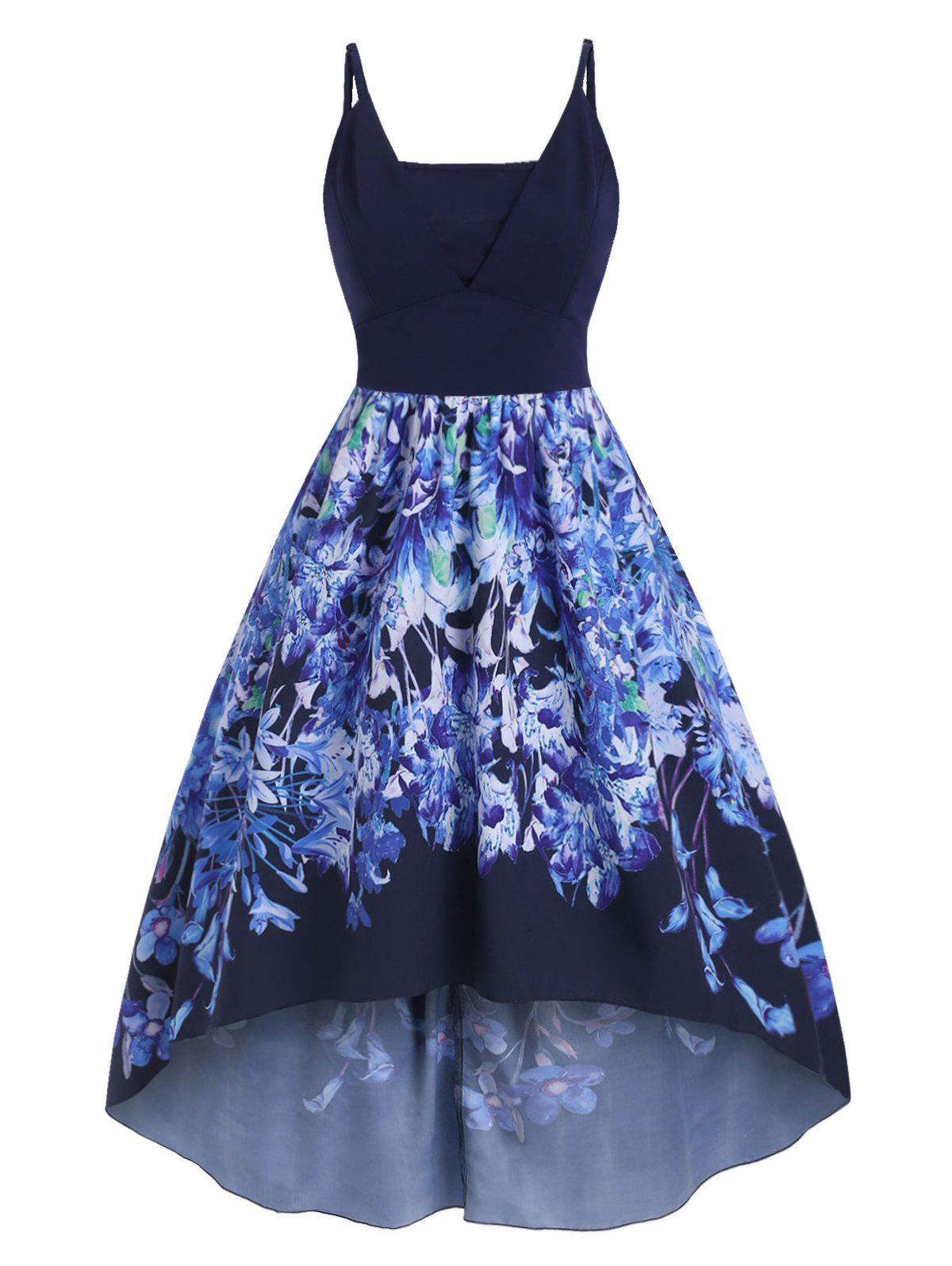 Plus Size Floral Print High Low Party Dress - BLUE L