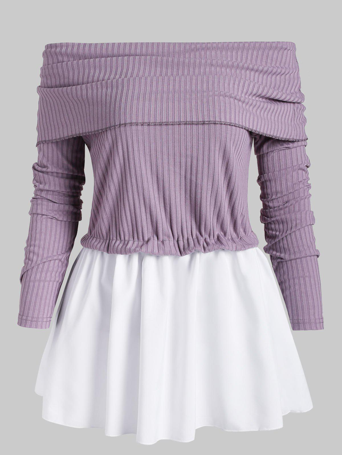 Off Shoulder Patched Overlay Knitwear - LILAC L