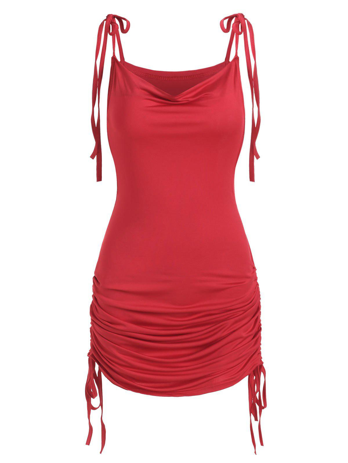 Cowl Front Cinched Tie Strap Dress - LAVA RED S