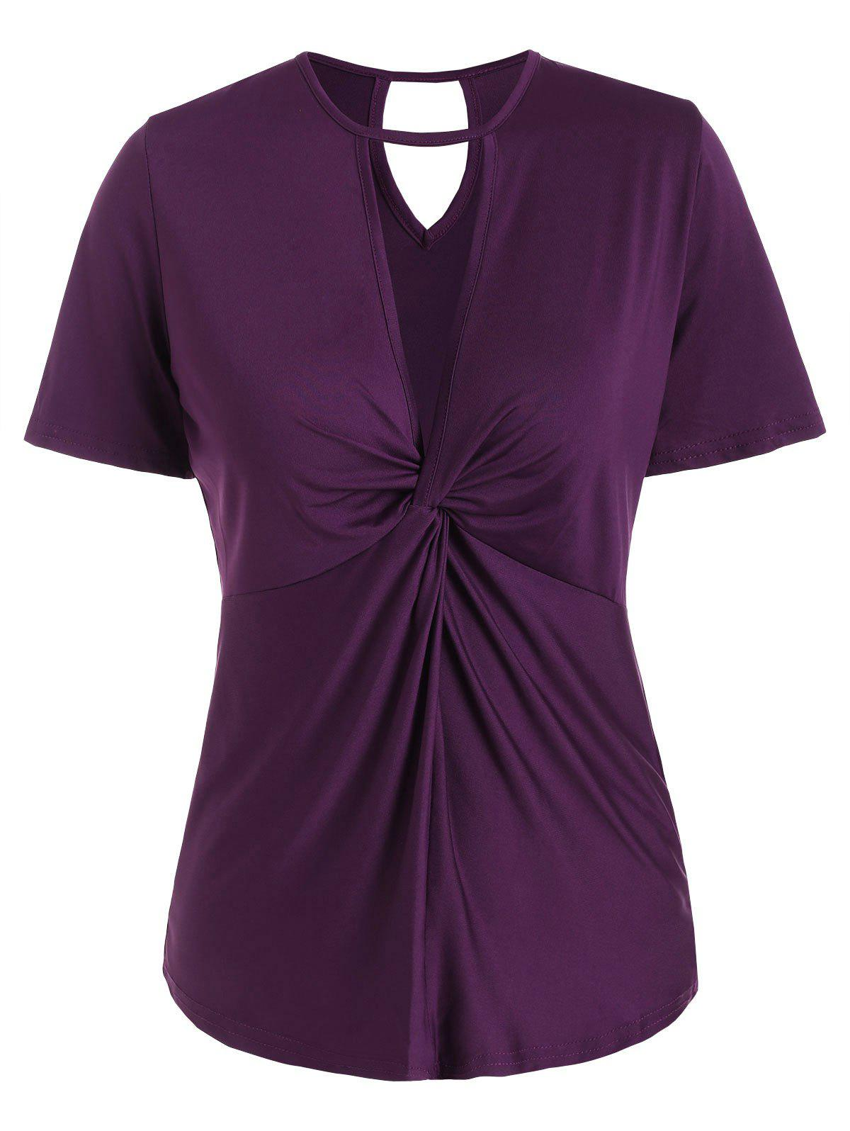 Twist Front Cut Out Solid Tee - VIOLET 2XL