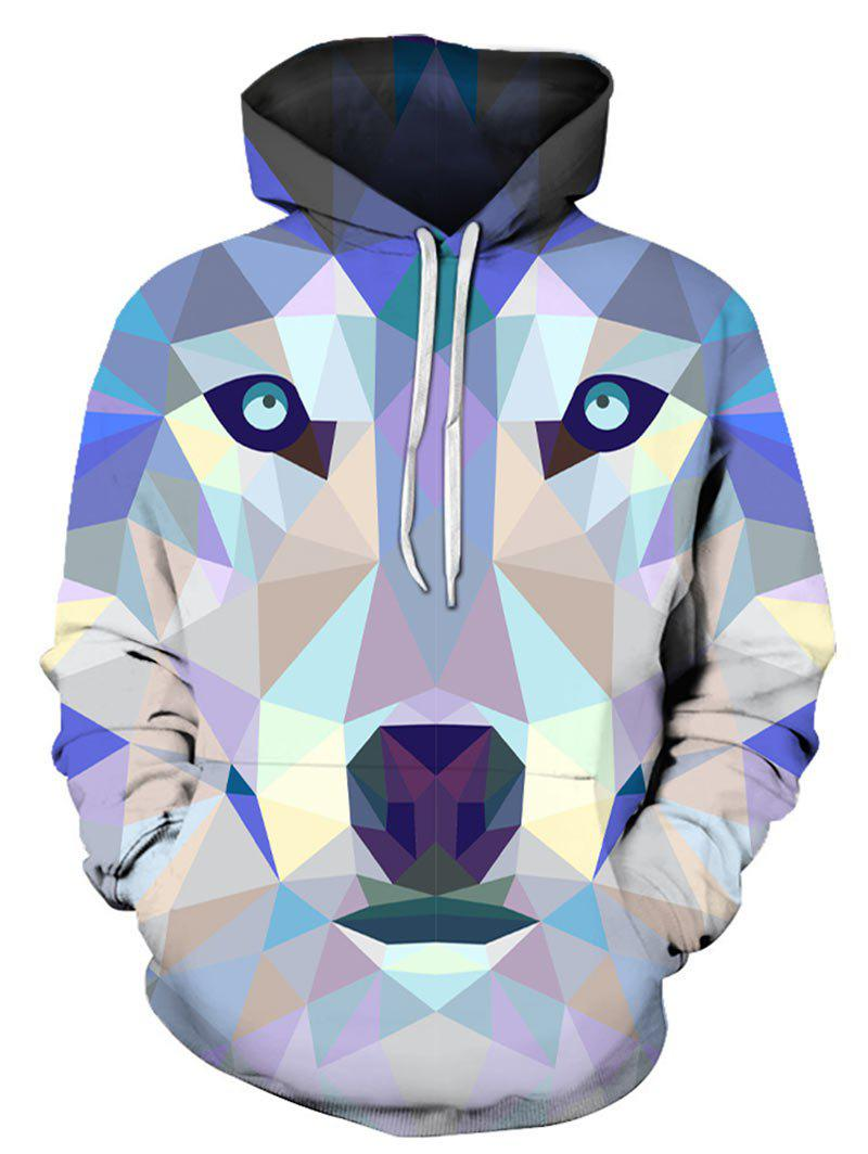Geometric Animal Print Pocket Hoodie - multicolor XL