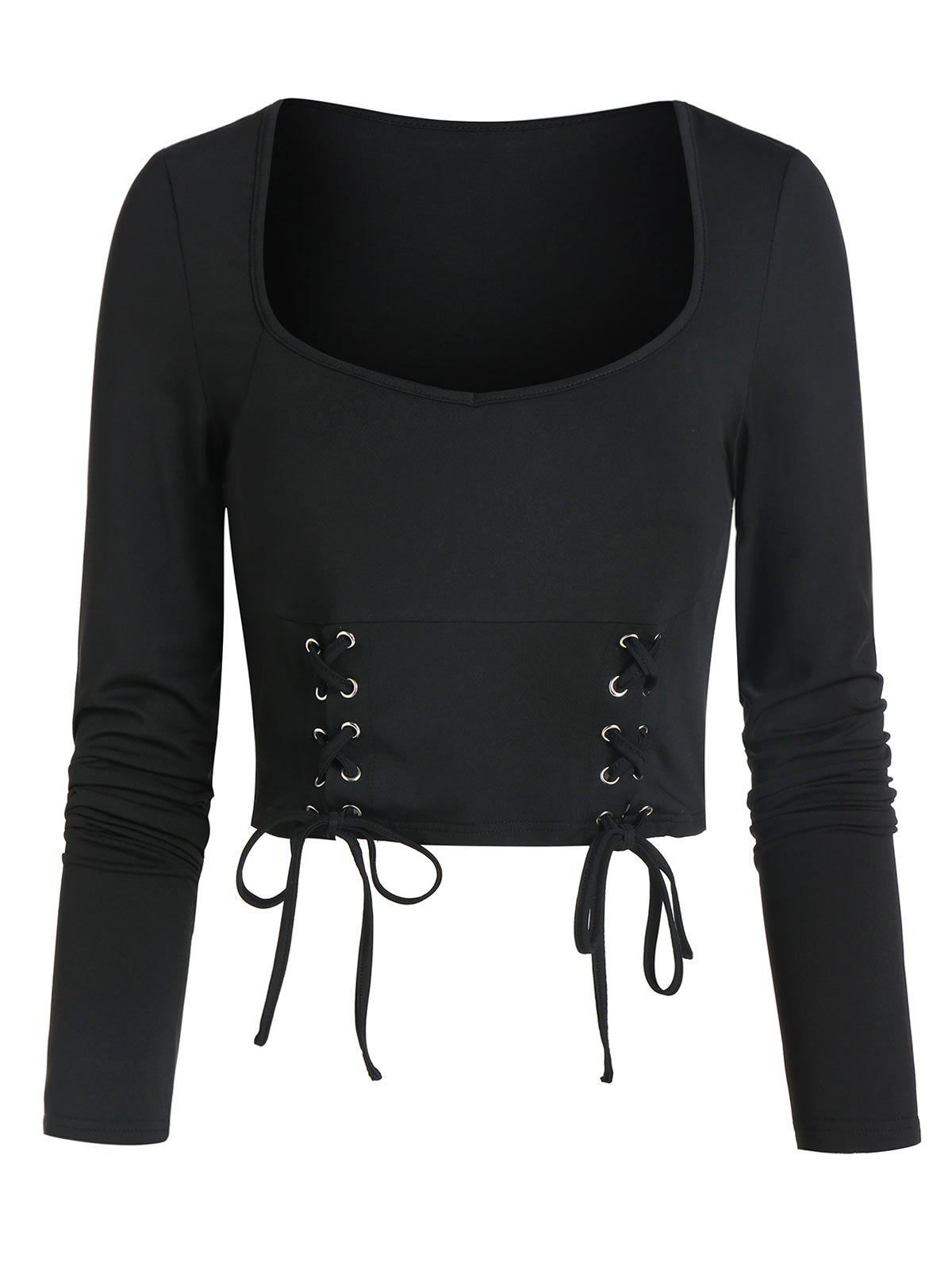 Lace-up Front Long Sleeve Cropped T-shirt - BLACK M