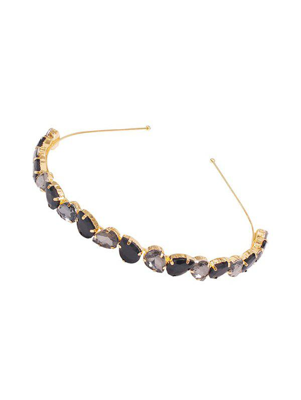 Artificial Crystal Teardrop Headband - BLACK