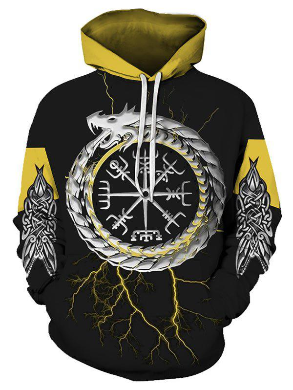 Novelty Graphic Print Pocket Hoodie - BLACK S