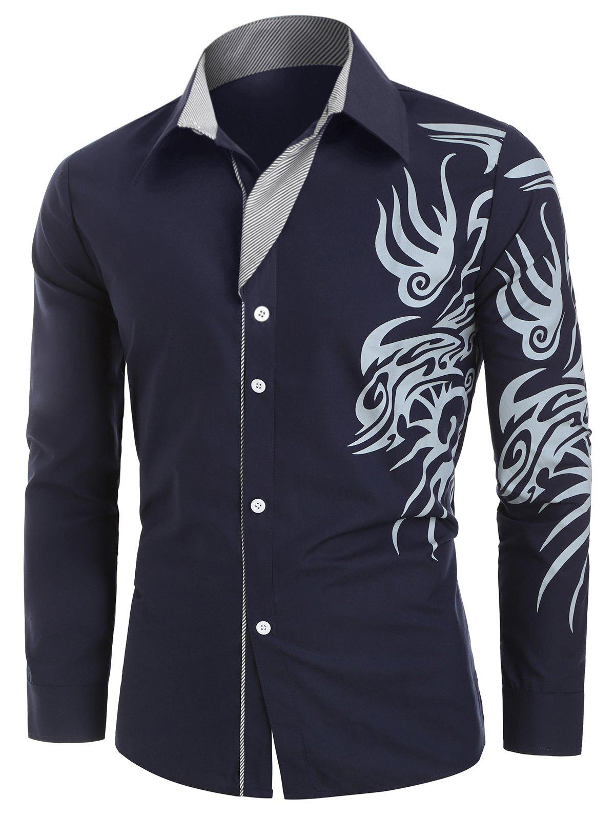 Tattoo Print Button Up Long Sleeve Shirt - CADETBLUE XL