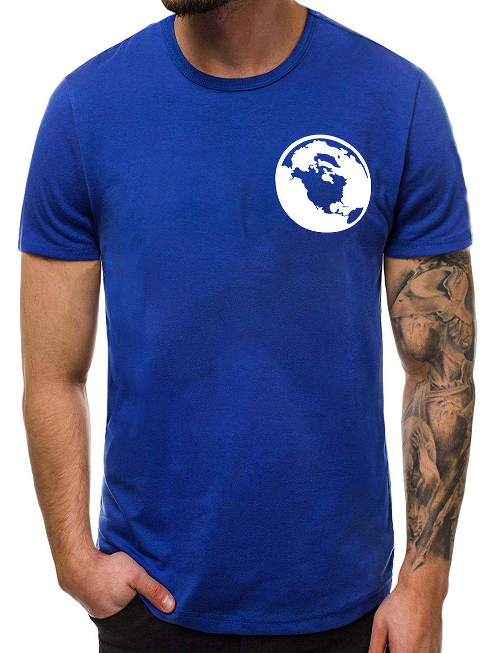 Imprimer Graphic Casual rond T-shirt col - Bleu S